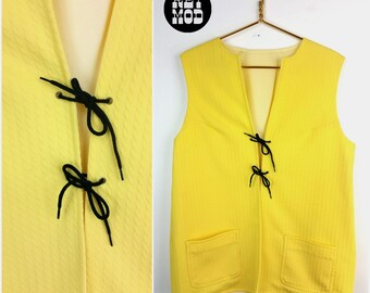 Cool Vintage 60s 70s Bright Yellow Double Knit Lace-Up Hippie Vest!