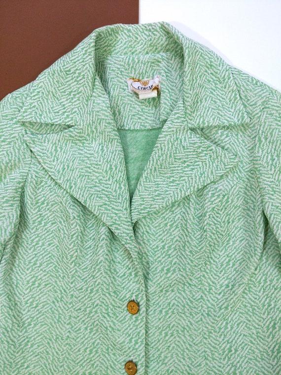 Cool Vintage 70s Mint Green Patterned Pants Suit - image 6