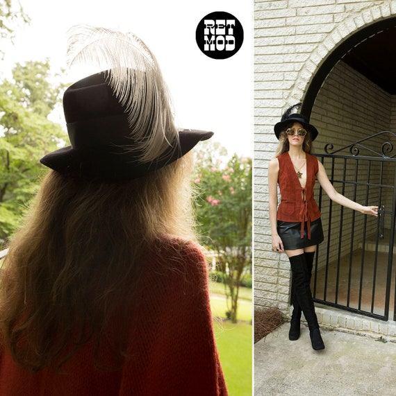 Cool Vintage 70s 80s Black Wool Felt Fedora Hippi… - image 10