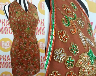 Stunning 90s Brown, Orange and Green Beaded Halter Party Dress with Swirls & Flowers!