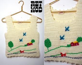 Funky Vintage 70s Off-White Knit Vest Tank Top with Novelty Landscape