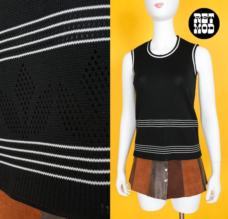 853c0707f7221 Vintage 70s Black & White Stripe Knit Floral Pattern Vest | Etsy