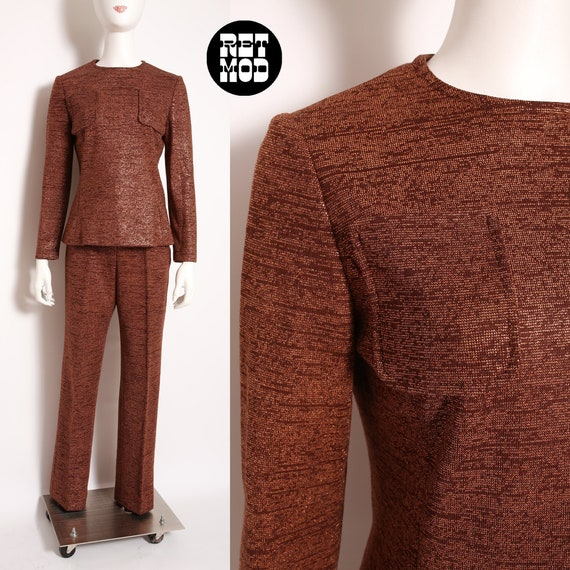 Fabulous Italian Knit Vintage 60s 70s Brown & Copp