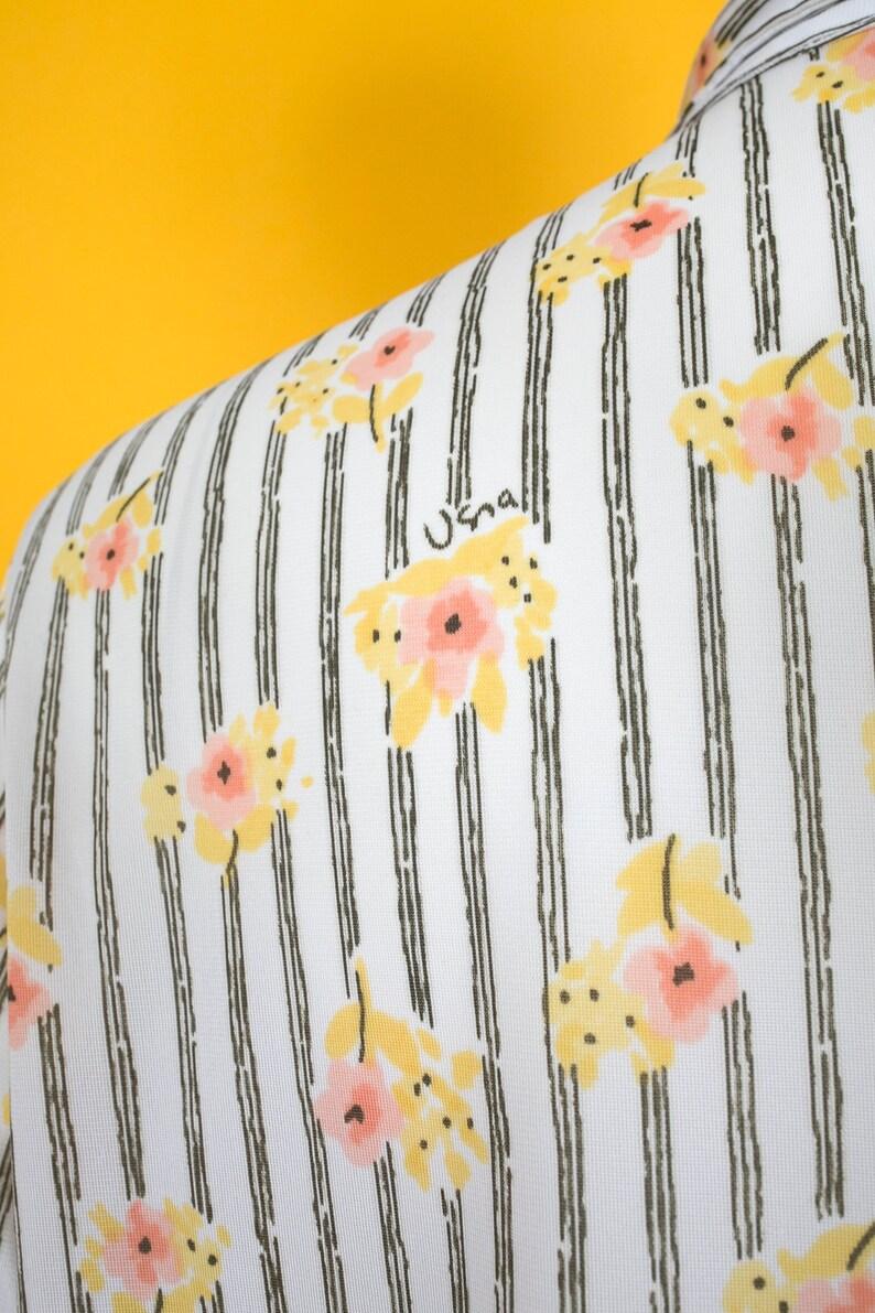 PLUS SIZE Vintage 70s Vera Neumann Floral Stripe Button Down Blouse Shirt