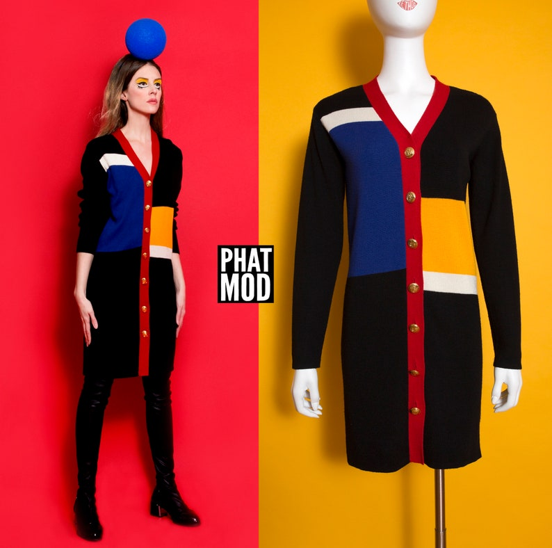 a5ddbcc0dd5d WOW Vintage 80s 90s Mondrian Color Block Sweater Dress with