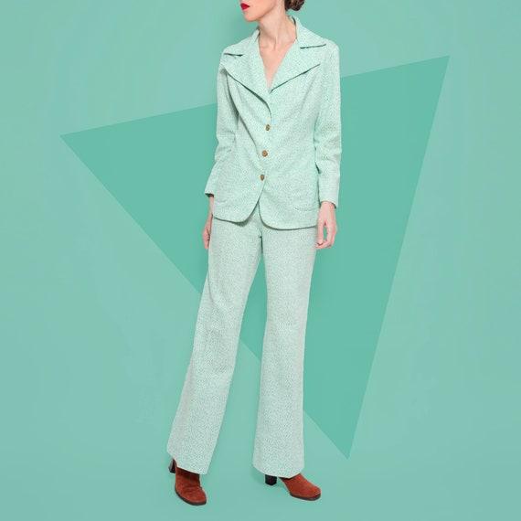 Cool Vintage 70s Mint Green Patterned Pants Suit - image 2