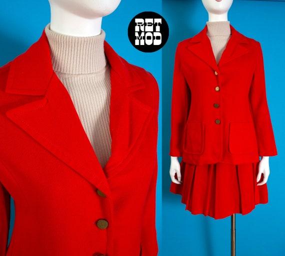 Super Cute Mod Vintage 60s Dark Orange Wool Two-Pi
