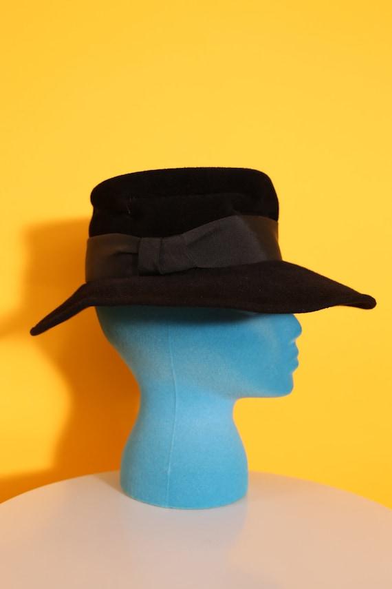 Cool Vintage 70s 80s Black Wool Felt Fedora Hippi… - image 5