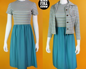 Cool Vintage 70s Dusty Turquoise Blue, Beige Stripe Dress with Matching Jacket by D*Lang