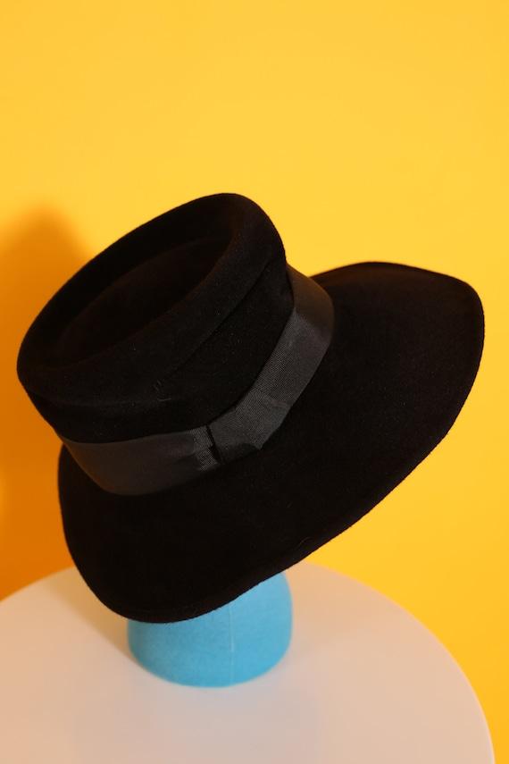 Cool Vintage 70s 80s Black Wool Felt Fedora Hippi… - image 6