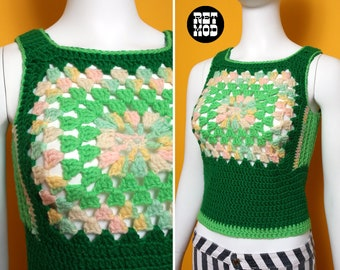 Groovy Vintage 60s 70s Green Granny Square Crochet Sweater Vest Top - Iconic