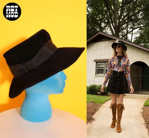 Cool Vintage 70s 80s Black Wool Felt Fedora Hippi… - image 9