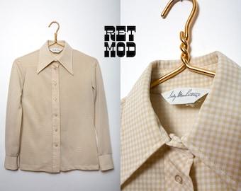 Vintage 70s Light Tan & White Gingham Plaid Button Down Long Sleeve Shirt