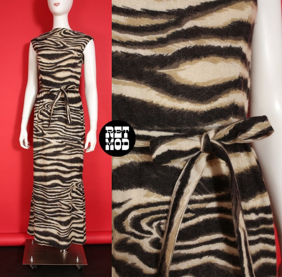 Spectacular Vintage 60s Op Art Animal Print Long W