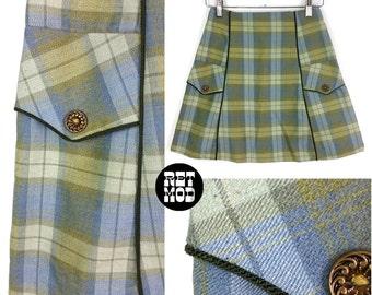 Super Cute Vintage 60s 70s Green & Blue Plaid Mini A-Line Skirt!