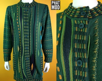 Long Vintage 90s Green, Yellow, Blue Funky Woven Cardigan Sweater - Could be worn as a dress or long cardigan!