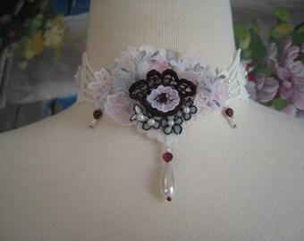 Vintage Lace Necklace Flowers Garnet Pearls Lace Trim Choker