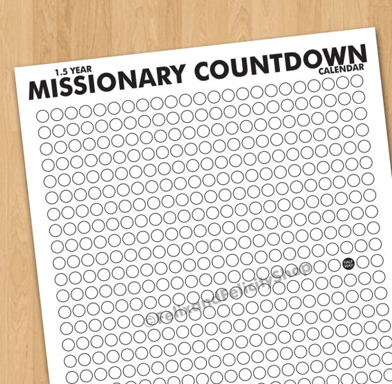 picture about Countdown Calendar Printable identify LDS Mission 18 Thirty day period Missionary Countdown Calendar Printable