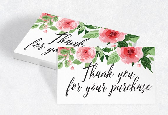 Printable Thank You For Your Purchase Card Package Insert Etsy
