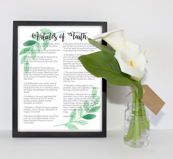 image about 13 Articles of Faith Printable identified as PRINTABLE The 13 Information of Religion Watercolor Leaf Edition