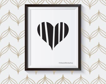 Modern Stripe Heart 8x10 Printable