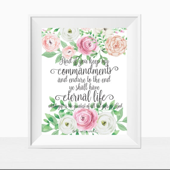 Printable Keep My Commandments Scripture LDS Mormon Home Decor Floral Verse Mastery Art Print Wall Sign Cute Pretty Unique