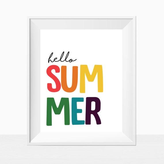 Printable Hello Summer Rainbow Wall Art Colorful Home