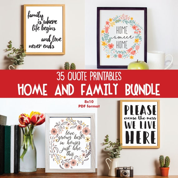 Printable Set Of 35 Home And Family Gallery Wall Art Quotes 8x10
