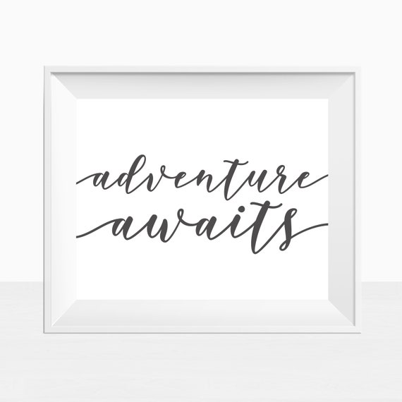 Travel Quote Print Adventure Awaits House Print Scandi Print Typography Wall Art