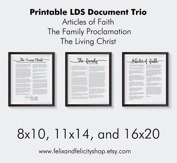 image about The Living Christ Free Printable named Printable The Spouse and children Proclamation, Residing Christ, Article content of Religion LDS Report Trio Mounted within 8x10, 11x17, or 16x20, Electronic Prints, Mormon
