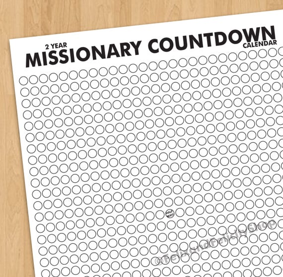 Lds Mission Printable 2 Year Missionary Countdown Calendar With Marked Halfway Point Missionary Mom Missionary Gift Mormon Mission By Studio De L Amour Catch My Party