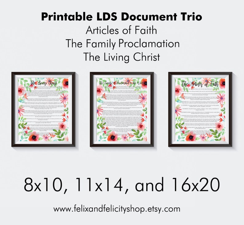 image about Family Proclamation Printable titled Printable LDS-The Family members: A Proclamation in the direction of the International, The Residing Christ,  The Content articles of Religion History Trio Fastened within 8x10, 11x17, or 16x20