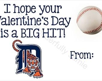 Detroit Tigers Valentine's Day Printable DIY Baseball