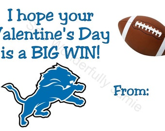 Detroit Lions Valentine's Day Printable DIY Football