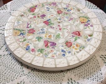 Broken china lazy susan mosaic