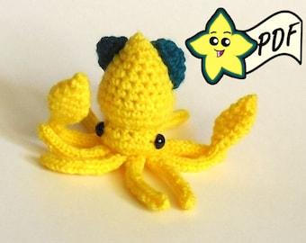 PDF Crochet Amigurumi Animal Pattern:  Miniature Squid Amigurumi PATTERN