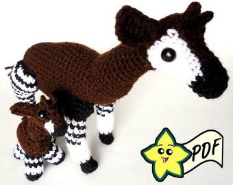 PDF Crochet Amigurumi Animal Pattern: Okapi Amigurumi PATTERN