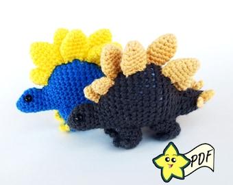 PDF Crochet Amigurumi Animal Pattern: Miniature Stegosaurus Amigurumi PATTERN