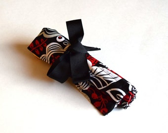 Medium Crochet Hook Holder - Red, Black and White Flowers, Yellow Lining