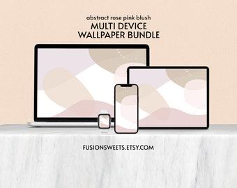 Abstract Rose Pink Blush WALLPAPER BUNDLE. iPhone Android Background Desktop Surface iPad Tablet iMac MacBook Apple Watch Boho Minimalist