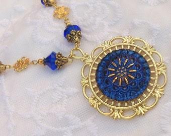 Amazing czech glass button necklace deep blue gold
