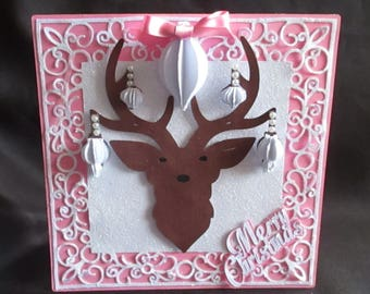 Stag head Bauble Card, TF0143, SVG,MTC,CAMEO,Scal,ScanNCUT,Cricut