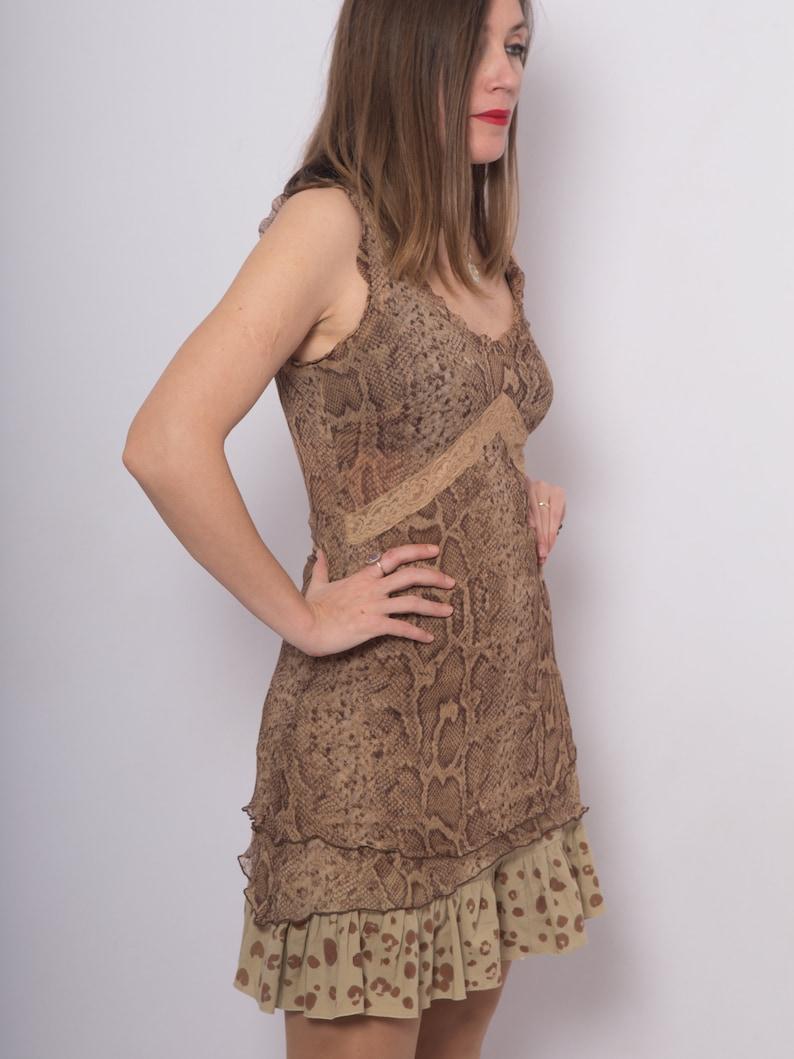 Silk Chiffon Dress Snake Print Dress Upcycled Dress Hand Painted Dress Safari Dress Leopard Print Dress Brown Silk Dress Summer Dress S M