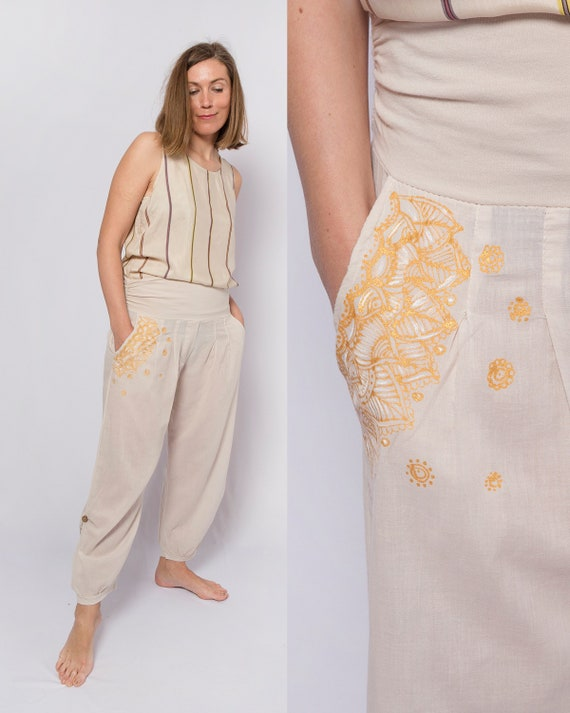 Hand Painted Upcycled Harem Pants Cotton Harem Pan