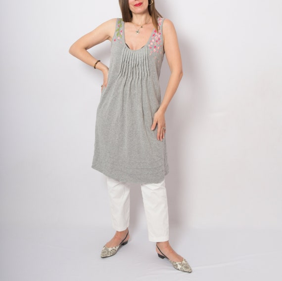 Floral Embroidered Dress Sleeveless Embroidered T… - image 1