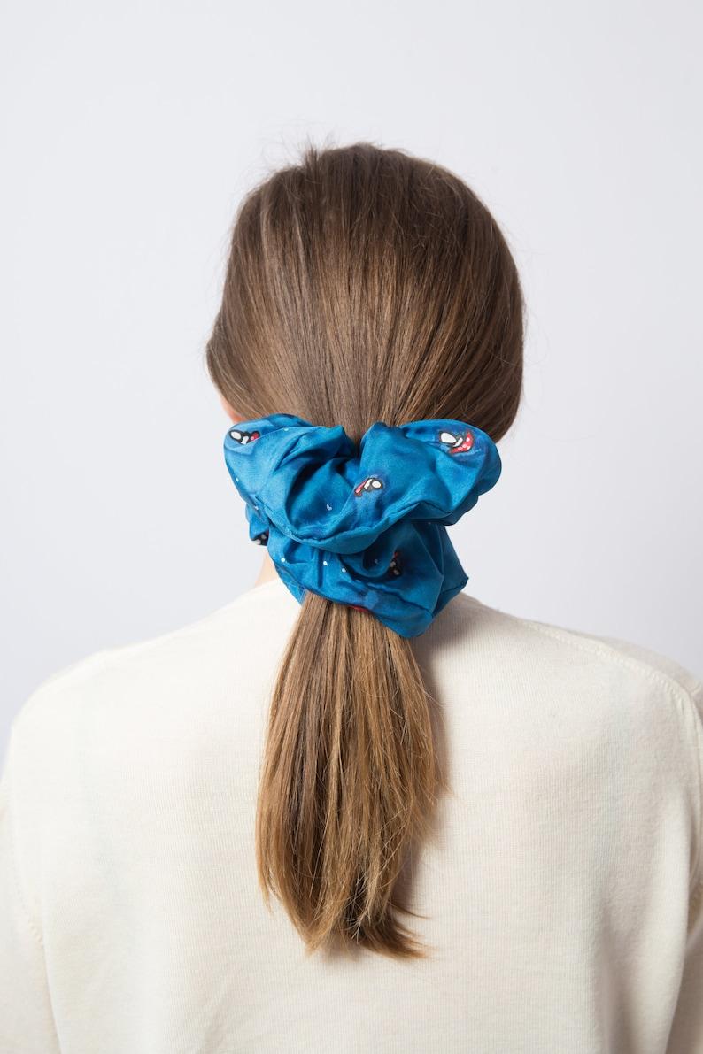 Mushroom Large Silk Scrunchie Toadstool Blue Scrunchie Hand Painted Silk Scrunchie Amanita Muscaria 100/% Silk Scrunchie Hair Accessories