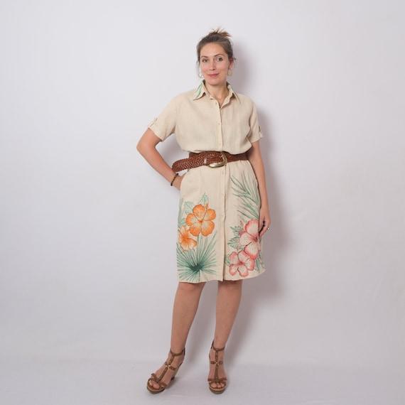 Hibiscus Linen Shirt Dress Summer Linen Dress Upcy