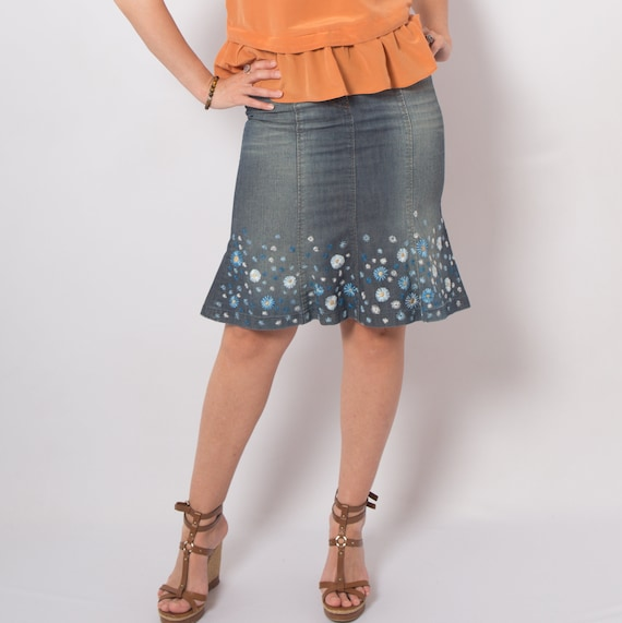 Hand Embroidered Skirt Miss Sixty Skirt Upcycled J