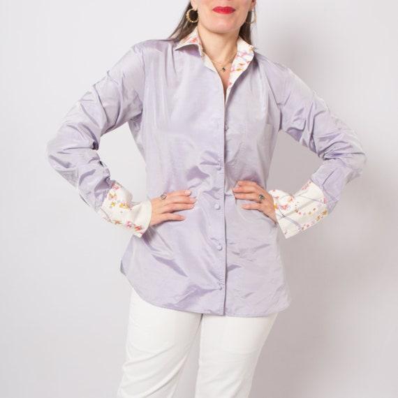 Vintage Pucci Silk Shirt Lavender Spring Blouse Em