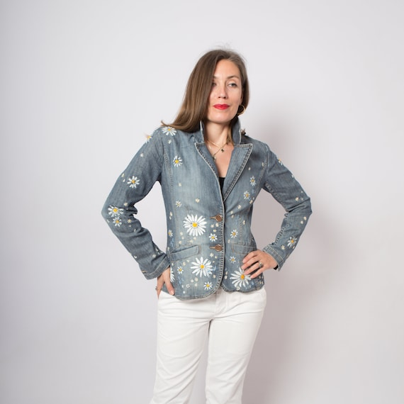 Floral Hand Painted Jacket Denim Blazer Embroidere
